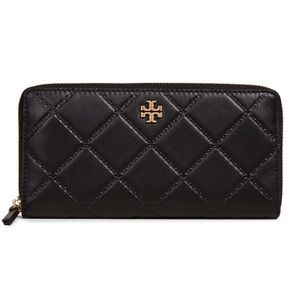 Tory Burch continental quilted black wallet.